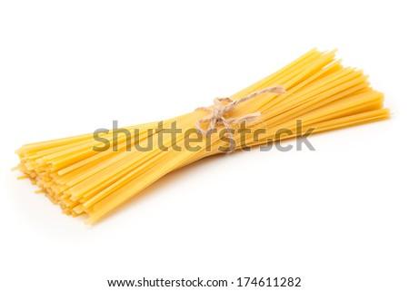 spaghetti isolated on white background - stock photo