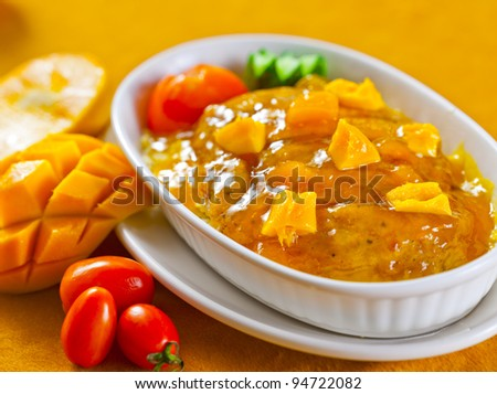 Spaghetti Mango Sauce - stock photo