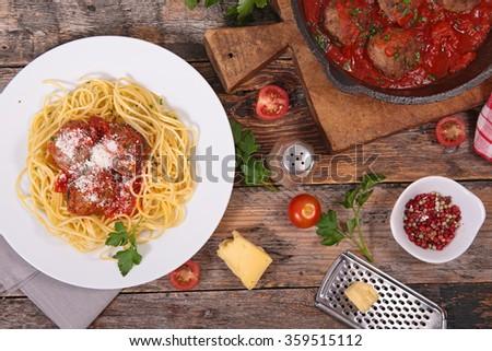 spaghetti,meatball and tomato sauce - stock photo