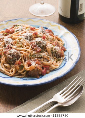 Spaghetti Meatballs in Tomato sauce with Parmesan - stock photo