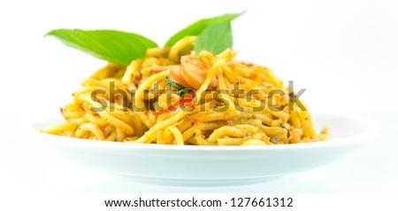 Spaghetti on the white backgrounds. - stock photo