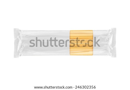 Spaghetti Pasta transparent packaging template isolated on white background. Ready for your design. Packaging collection. - stock photo