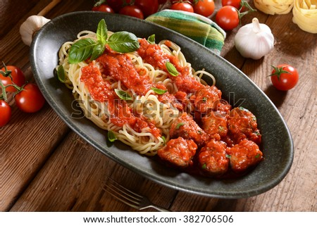 Spaghetti pasta with meat balls and tomato suace - stock photo