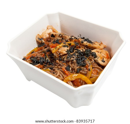 spaghetti pasta with tomato beef sauce isolated on white - stock photo