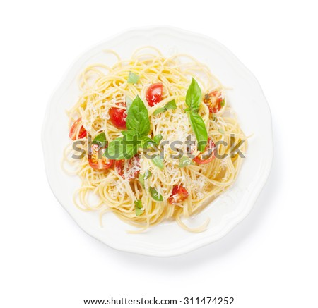 Spaghetti pasta with tomatoes and basil. Isolated on white background - stock photo