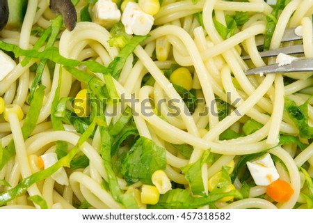 Spaghetti pasta with wild garlic on a plate