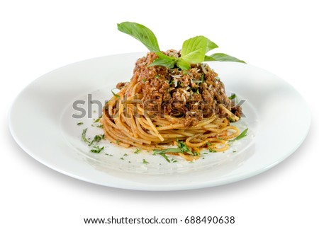 Spaghetti Ragu Alla Bolognese Sauce On Stock Photo Royalty Free
