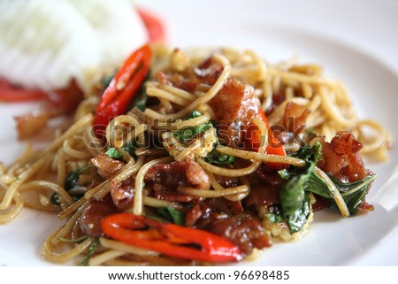 Spaghetti spicy with basil
