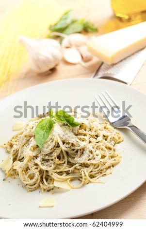 spaghetti with basil pesto - stock photo