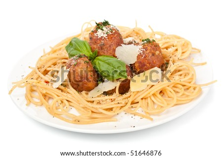 spaghetti with chicken meatballs  on a plate - stock photo