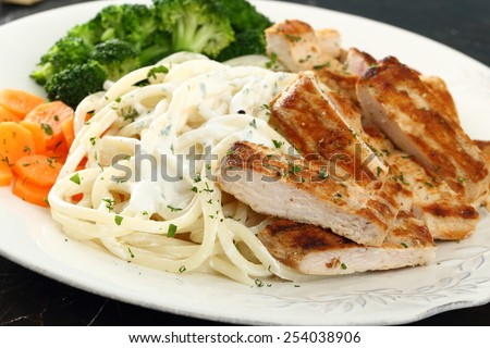 spaghetti with meat and vegetables - stock photo
