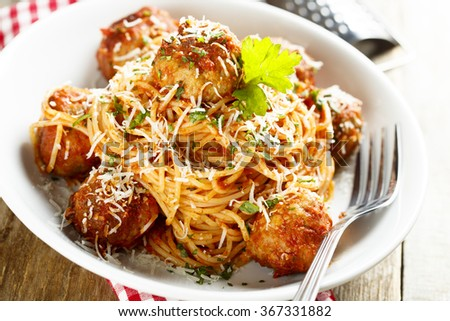 Spaghetti with meatballs - stock photo