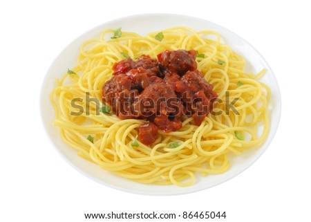 spaghetti with meatballs - stock photo
