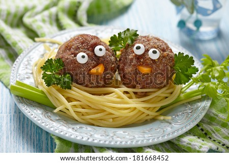 Spaghetti with meatballs for kids - stock photo