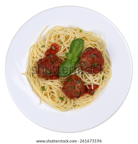 Spaghetti with meatballs noodles pasta meal on a plate isolated - stock photo