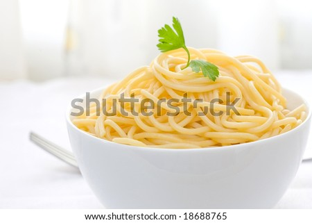 spaghetti with parsley leaf and olive oil on white bowl - stock photo