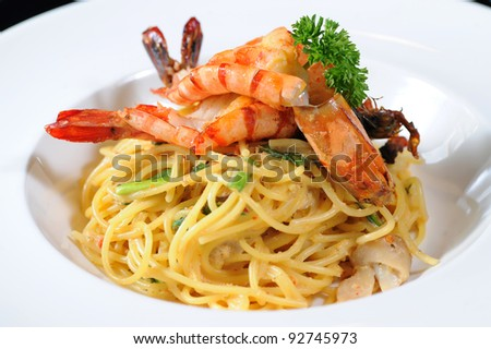 Spaghetti with Seafood - stock photo