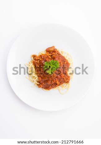 spaghetti with tomato chicken sauce - stock photo