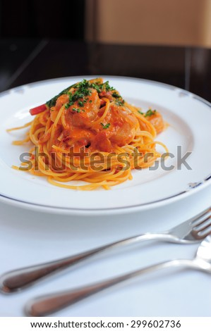 Spaghetti with tomato sauce close up - stock photo