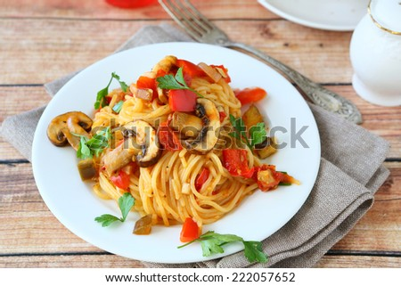 Spaghetti with vegetables, nutritious food - stock photo