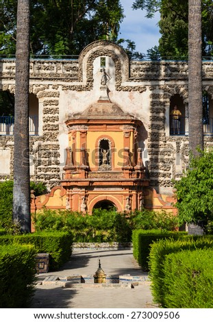 Spain, Andalusia Region. Detail of Alcazar Royal Palace garden in Seville. - stock photo