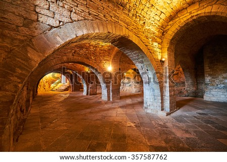 Spain, Aragon, St. John of The Rock Medieval Monastery, Hall Of Councils - stock photo