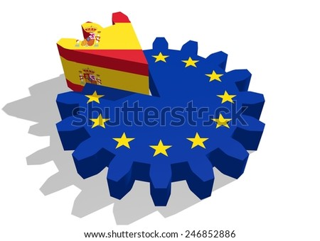 spain as a piece of the european union gear cake