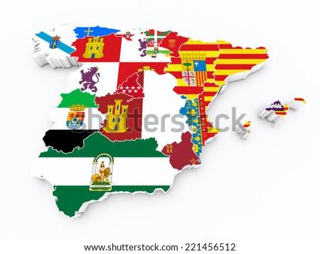 spain Autonomous communities flags on 3d map - stock photo