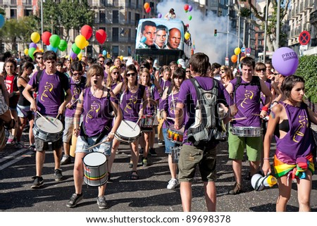 Spain, Barcelona - June 26: Participants of the pride of the gay, lesbian, bisexual and transgender People in the streets of Barcelona on June 26, 2011.