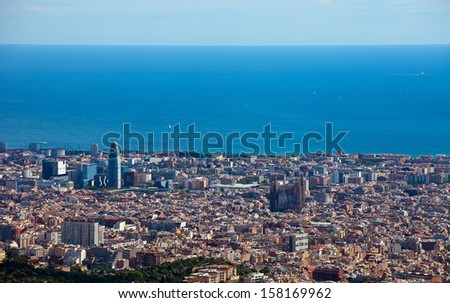 Spain. Barcelona, the capital of the province of Catalunya. View of the city from the top.  - stock photo