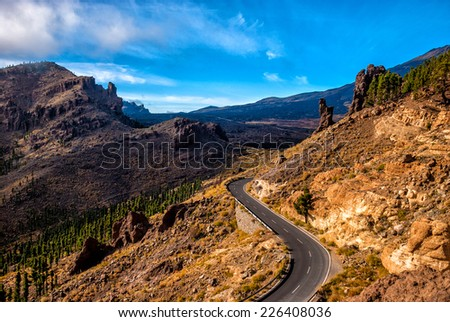 Spain, Canary Islands, Tenerife. Road to Mount El Teide. - stock photo