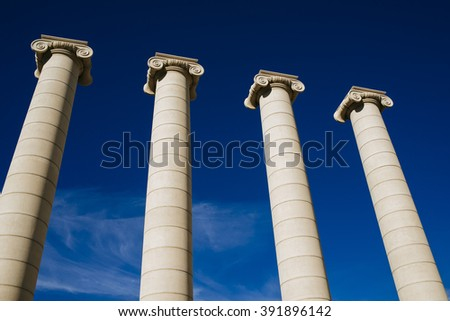 Spain, Catalonia, Barcelona, The Four Columns Puig i Cadafalch, symbol of Catalonia. Each representing the four stripes of the Catalan senyera. - stock photo