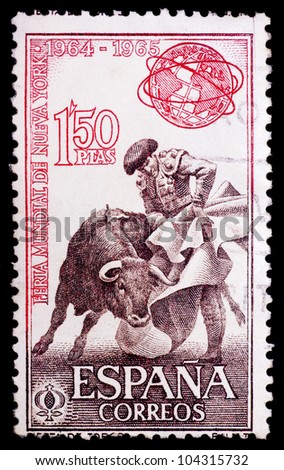 SPAIN - CIRCA 1964: A stamp printed by Spain, shows bullfight, circa 1964 - stock photo