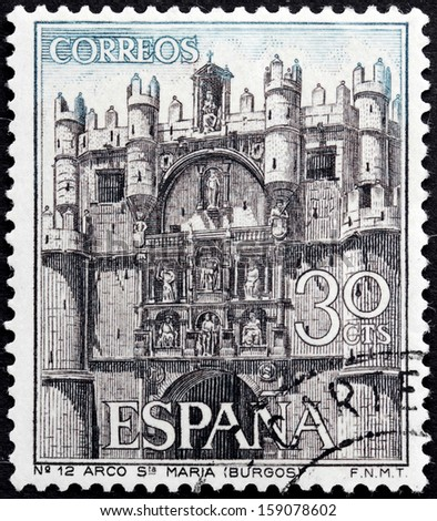 SPAIN - CIRCA 1965: a stamp printed by SPAIN shows Facade of  the Cathedral of Santa Maria in Burgos town, Spain, circa 1965 - stock photo