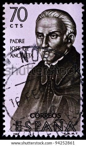SPAIN - CIRCA 1965: A stamp printed by Spain, shows Padre Jose de Anchieta, circa 1965 - stock photo