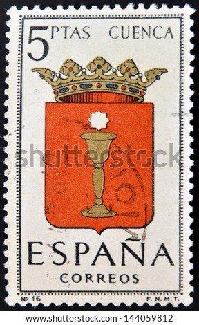 SPAIN - CIRCA 1965: A stamp printed in Spain dedicated to Arms of Provincial Capitals shows Cuenca, circa 1965.