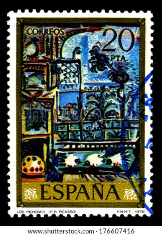 "SPAIN CIRCA 1978, A stamp printed in Spain shows a canvas image "" Los pichones"" by Pablo Ruiz Picasso - stock photo"