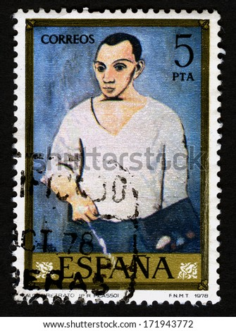 SPAIN CIRCA 1978, A stamp printed in Spain shows canvas image Autoretrato. by Pablo ruioz Picasso. 1978 - stock photo