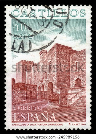 SPAIN - CIRCA 2001: A stamp printed in Spain shows Castle of La Zuda, Tortosa, circa 2001 - stock photo