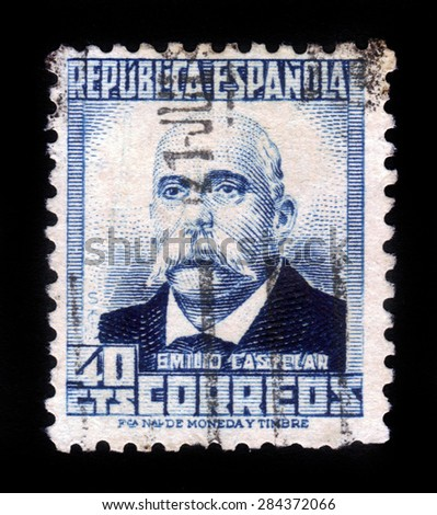 SPAIN - CIRCA 1931: A stamp printed in Spain shows Emilio Castelar,spanish republican politician and president of the first spanish republic, circa 1931 - stock photo