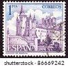 SPAIN - CIRCA 1963:  A stamp printed in Spain shows the Alcázar of Segovia, Segovia Castle, located in the old city of Segovia, Spain, circa 1963. - stock photo