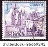 SPAIN - CIRCA 1963:  A stamp printed in Spain shows the Alcázar of Segovia, Segovia Castle, located in the old city of Segovia, Spain, circa 1963. - stock photo