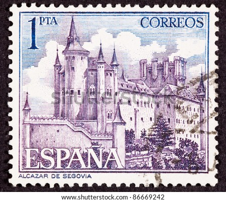 SPAIN - CIRCA 1963:  A stamp printed in Spain shows the Alcázar of Segovia, Segovia Castle, located in the old city of Segovia, Spain, circa 1963.