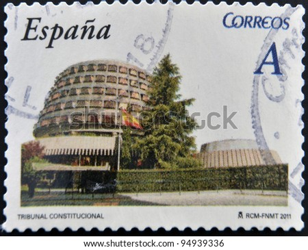 SPAIN - CIRCA 2011: A stamp printed in spain shows the constitutional court building, circa 2011