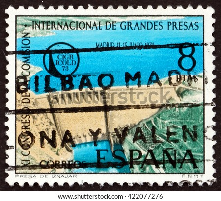 SPAIN - CIRCA 1973: a stamp printed in the Spain shows Iznajar Dam on Genil River, circa 1973