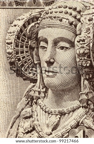 SPAIN - CIRCA 1948: Lady of Elche on 1 Peseta 1948 Banknote from Spain. The Lady of Elche is a sculpture of limestone bust of a woman, dated fifth century or fourth century BC.