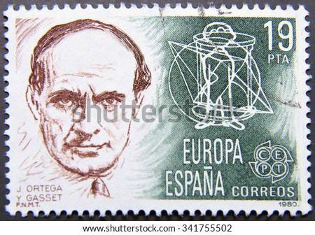 SPAIN - CIRCA 1980: postage stamp of Spain shows Portrait of Ortega y Gasset - stock photo