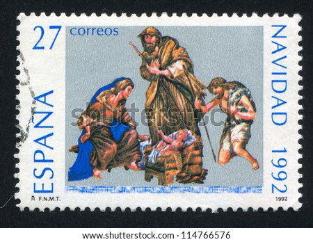 SPAIN - CIRCA 1992: stamp printed by Spain, shows Christmas, circa 1992