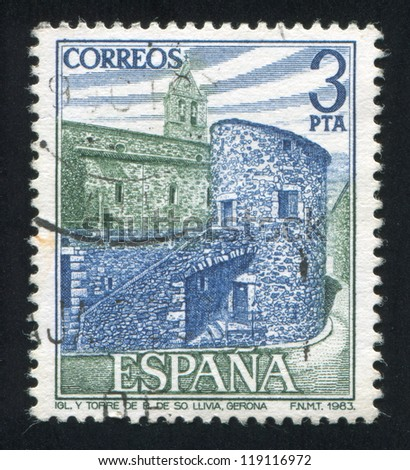 SPAIN - CIRCA 1983: stamp printed by Spain, shows Church at Llivia in Gerona, circa 1983