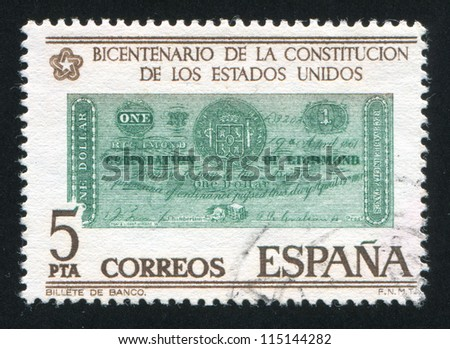 SPAIN - CIRCA 1976: stamp printed by Spain, shows Dollar banknote, Richmond, 1861, circa 1976 - stock photo